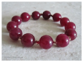 Chunky Burgundy Jade & Rose Gold Colour Swarovski Crystals Beaded Bracelet | Silver Sensations